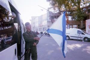 Nicolai with flag in Sevastopol